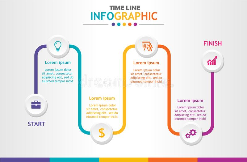 Infographic template for business with 6 steps, Timeline diagram, Business data presentation, Roadmap process chart. Vector infographic royalty free illustration