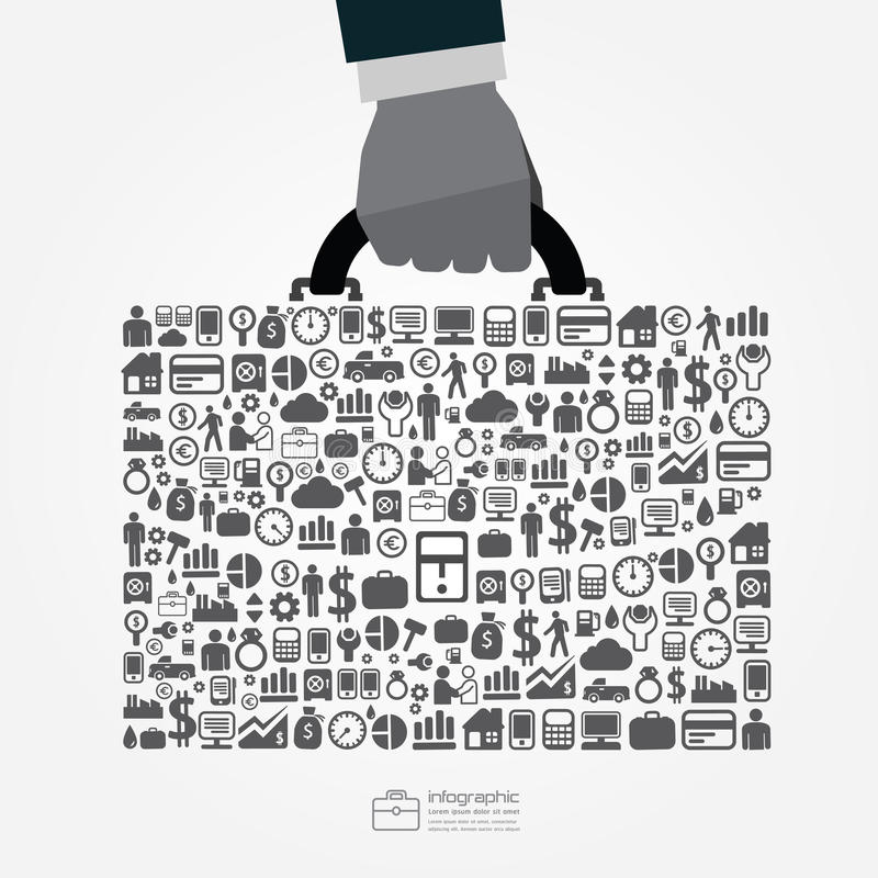 Infographic Template with businessman hand hold business bag jig vector illustration
