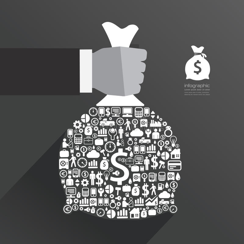 Infographic Template with businessman hand hold money bag icons royalty free illustration