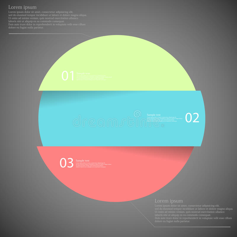 Infographic template with circle divided to three parts on dark stock illustration