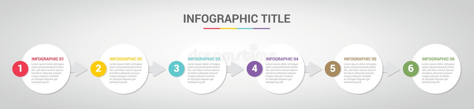 Infographic template with circle round style for step or process timeline with various color with 6 step - vector. Illustration royalty free illustration