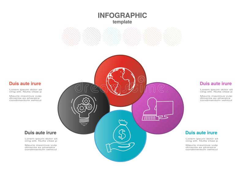 Infographic template with circles. Business concept with options. For workflow layout, timeline infographics, diagram, flowchart, royalty free illustration