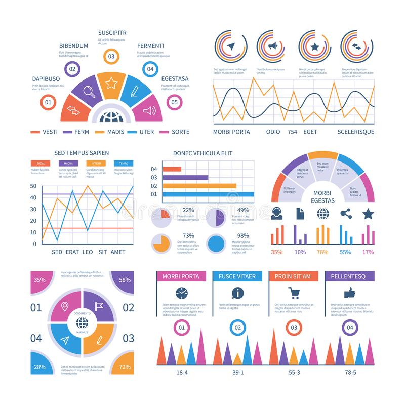 Infographic template. Dashboard, bar finance graphs, pie chart and line diagrams. Analytical vector infographics royalty free illustration