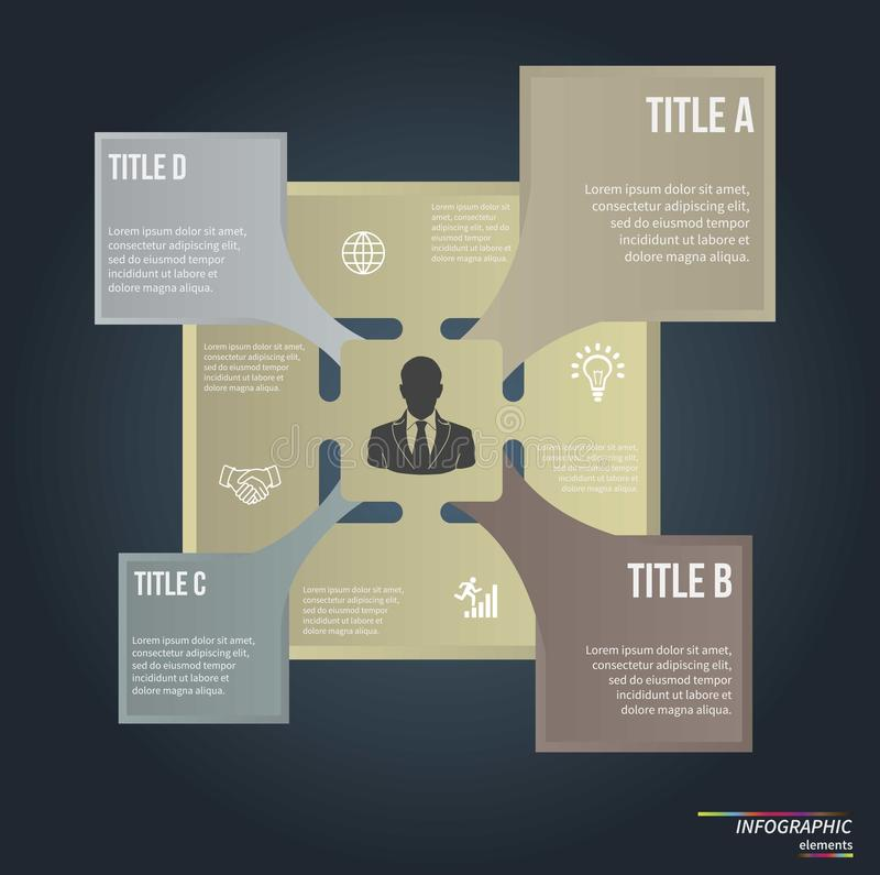 Infographic template . Design concept for. Infographic template . Design for presentation or diagram. Concept for 4 steps, parts or options. Vector EPS10 royalty free illustration