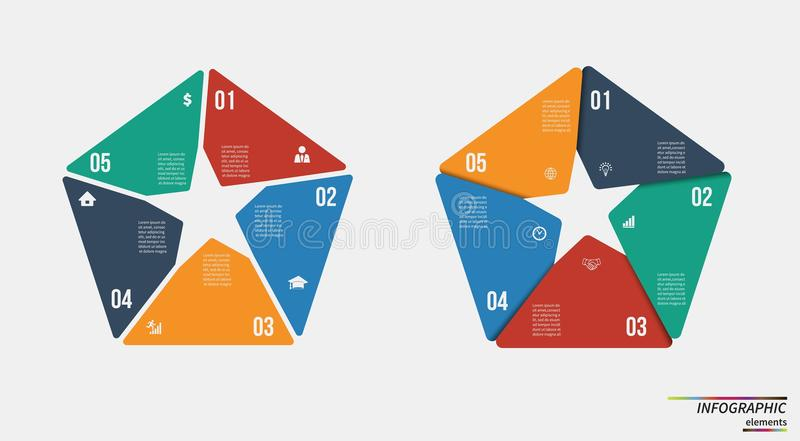 Infographic template . Design concept for presentation or diagram. Vector EPS10. Infographic template . Design for presentation or diagram. Concept for 5 steps stock illustration