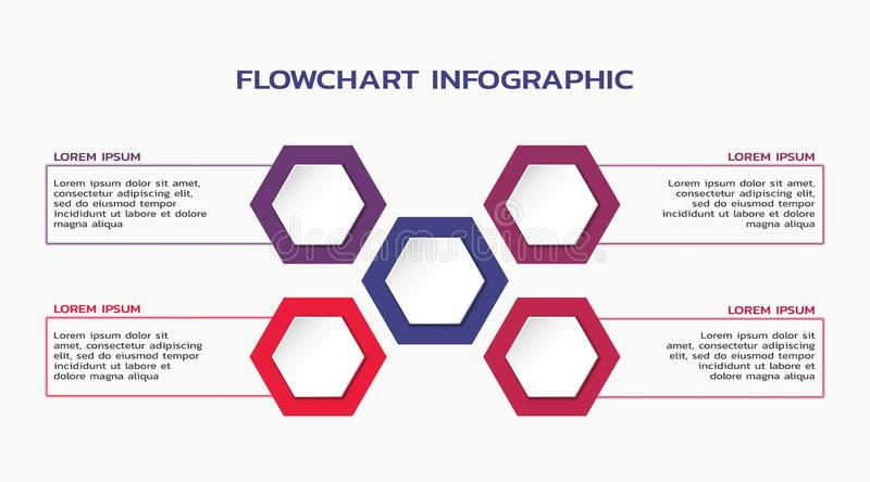 Infographic template design. flowchart with hexagon and four text boxes. Infographic template design. vector flowchart with hexagon and four text boxes vector illustration