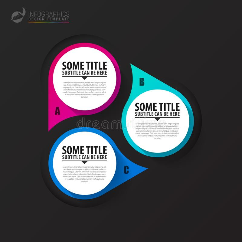 Infographic template. Diagram with 3 steps. Vector. Illustration stock illustration