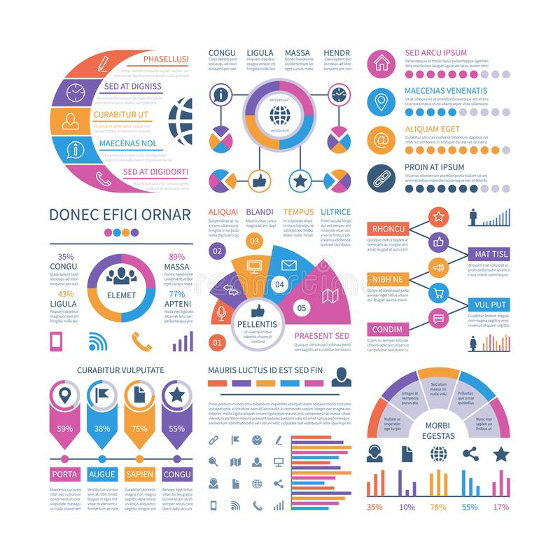 Infographic template. Financial investment graphs, process timeline organization flowchart. Infographics vector elements. For report. Illustration of process royalty free illustration