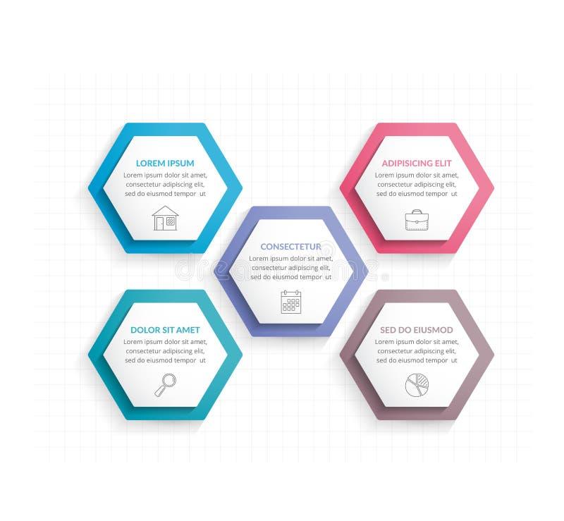 Five Hexagons stock illustration