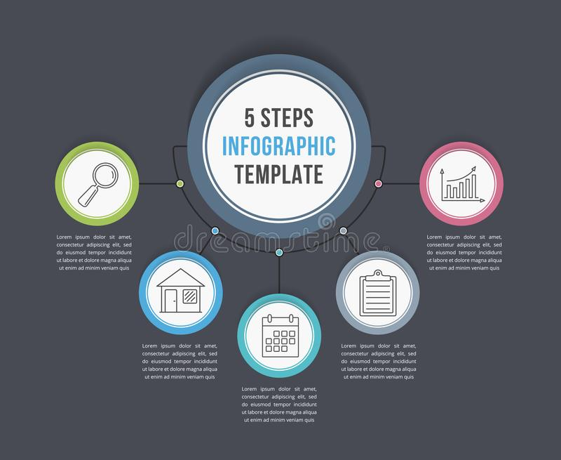 Infographic Template with Five Steps. Or options, workflow, process diagram royalty free illustration