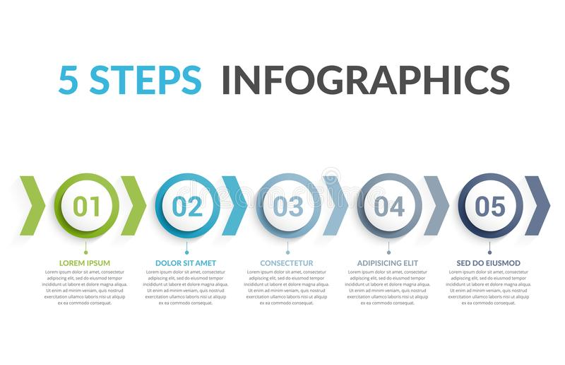 5 Steps Infographics. Infographic template with five steps or options, workflow or process diagram stock illustration