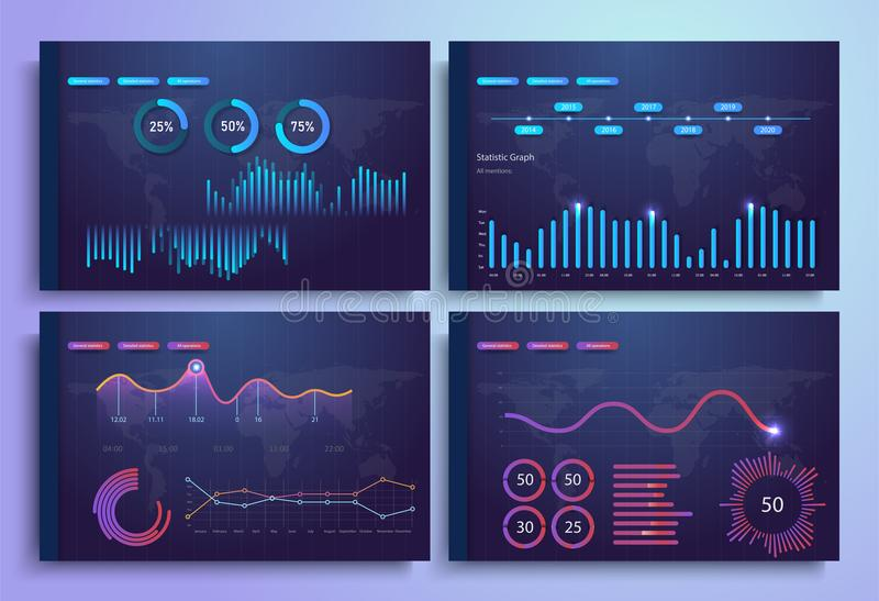 Infographic template with flat design daily statistics graphs, dashboard, pie charts, web design, royalty free illustration