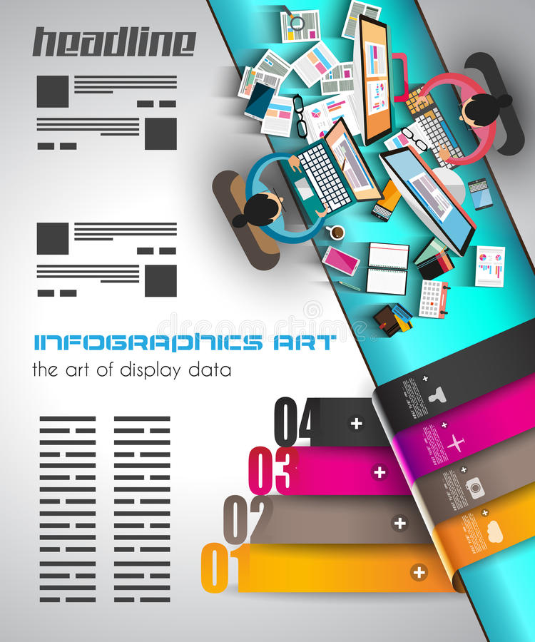 Infographic template with flat UI icons for ttem ranking. Ideal to use for marketing studies display, features ranking, strategy illustrations, seo stock illustration