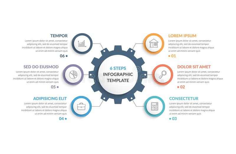 Infographic Template with Gear. With six elements, steps or options vector illustration