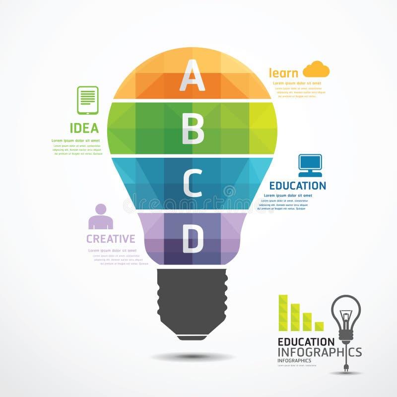 Infographic Template geometric Light bulbs banner stock illustration