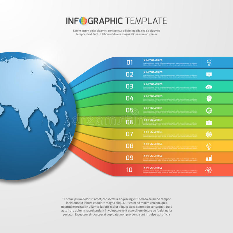 Infographic template with globe with 10 options, parts, steps royalty free illustration