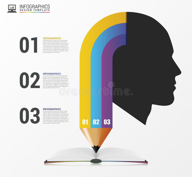 Infographic Template with Head and pencil. Vector royalty free illustration