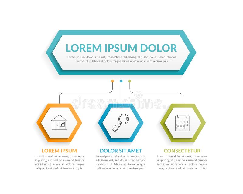 Infographic Template with 3 Steps. Infographic template with hexagons with main idea and 3 steps or options, workflow, process chart stock illustration