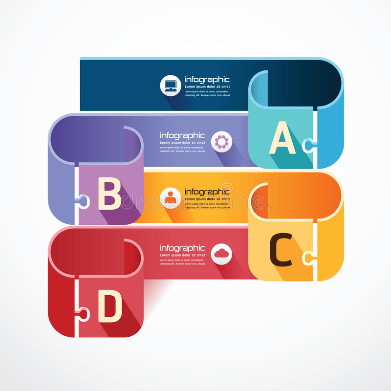 Infographic Template jigsaw banner . concept vecto royalty free illustration
