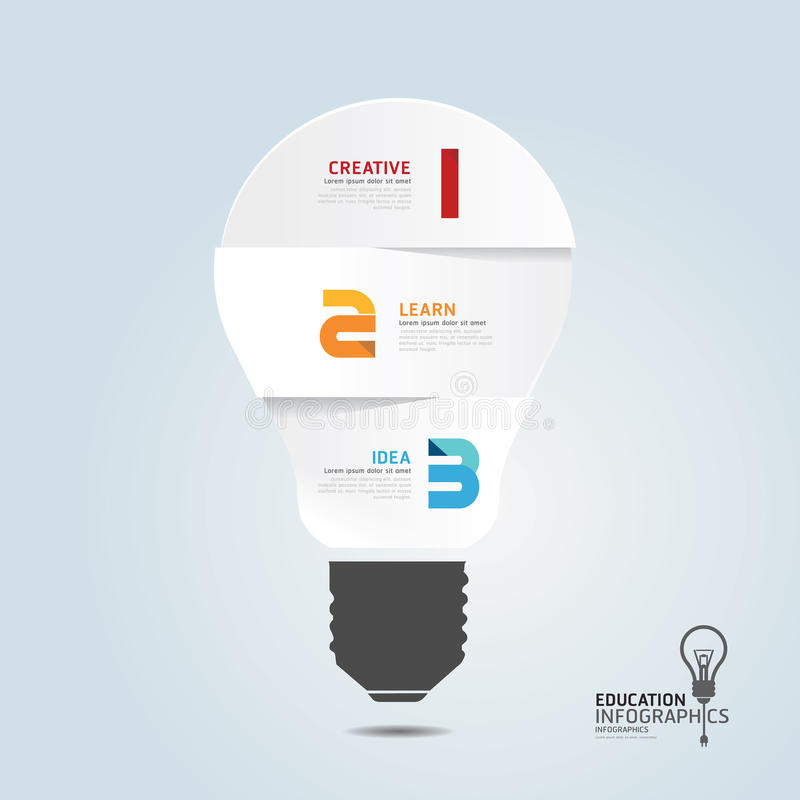 Infographic Template with Light bulbs paper cut banner . concept. Illustration royalty free illustration