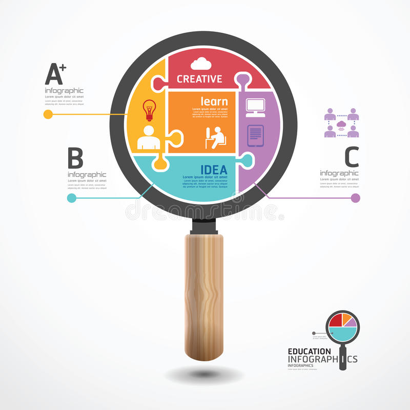 Infographic Template with magnifier jigsaw banner stock illustration