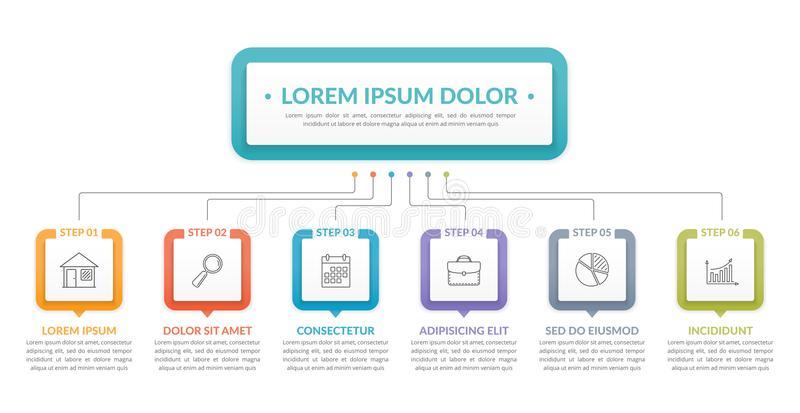 Infographic Template with 6 Steps. Infographic template with main idea and 6 steps or options, workflow, process chart stock illustration