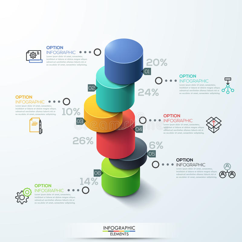 Infographic template Modern cylinder bar chart Design. Modern infographic template cylinder column chart design. Can be used for workflow layout, banner, number vector illustration