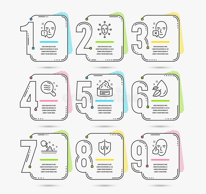 Uv protection, Skin condition and Face declined icons. Water drop, Face biometrics and Skin cream signs. Vector. Infographic template with numbers 9 options. Set vector illustration