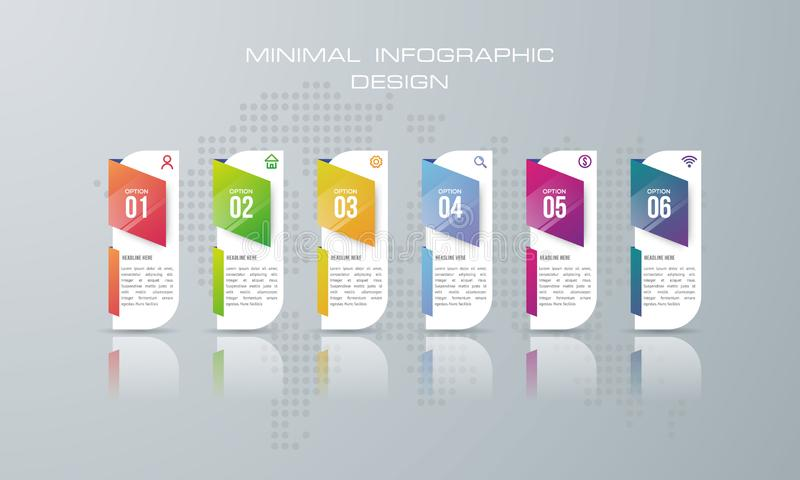 Infographic template with 6 options, banner option for infographic royalty free illustration