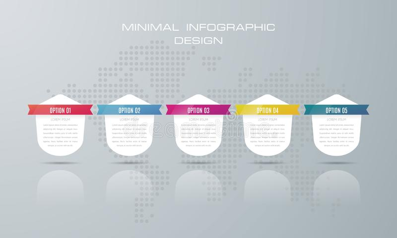 Infographic template with 5 options, royalty free illustration