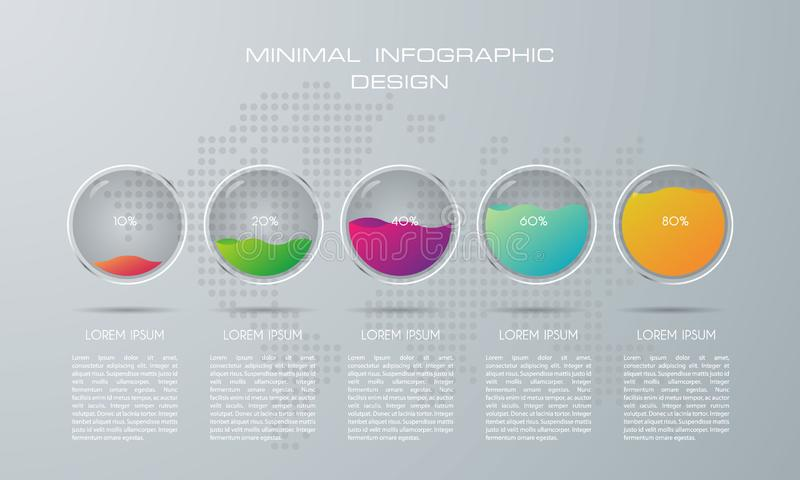 Infographic template with 5 options stock illustration