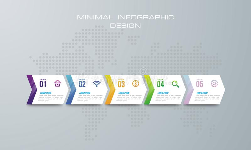 Infographic template with 4 options, workflow, process chart,Timeline infographics design  and marketing icons can be used f royalty free illustration
