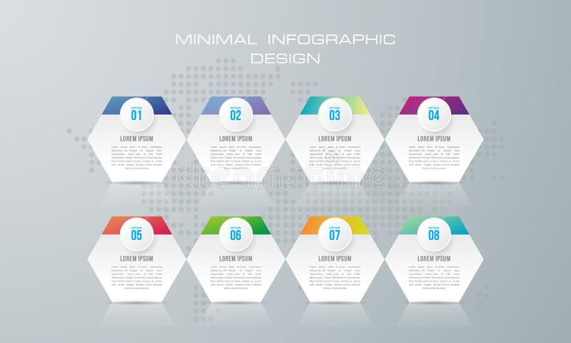 Infographic template with 8 options, vector illustration