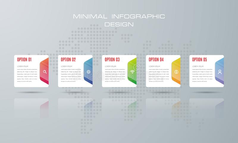 Infographic template with 6 options, stock illustration