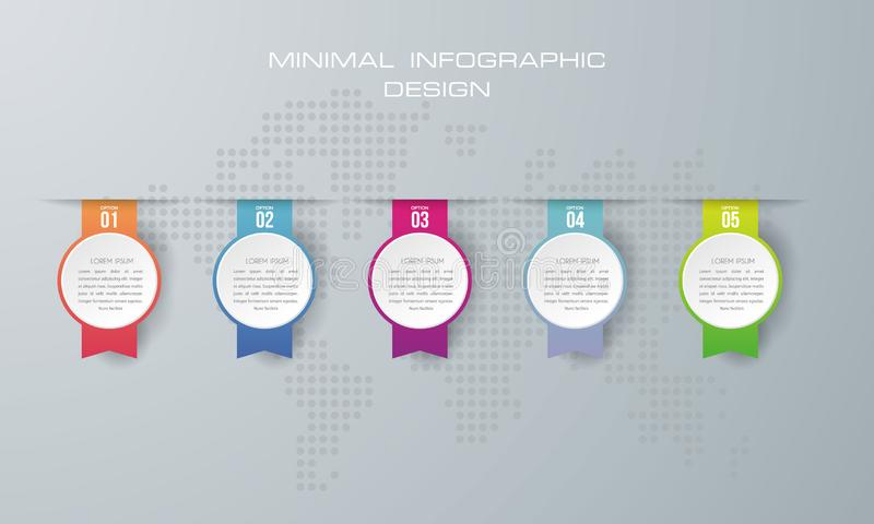 Infographic template with 5 options, vector illustration