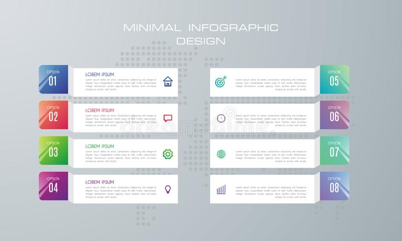 Infographic template with 8 options royalty free illustration