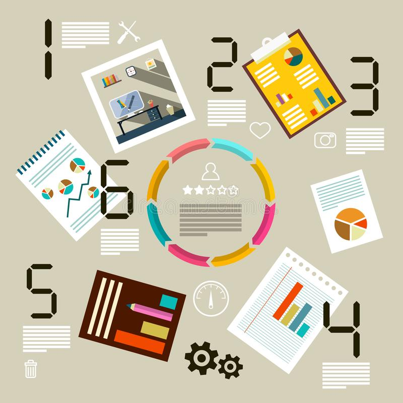 Infographic Template with Paper Business Documents. royalty free illustration