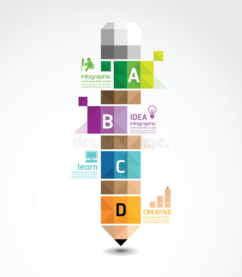 Infographic Template with pencil geometric banner royalty free illustration