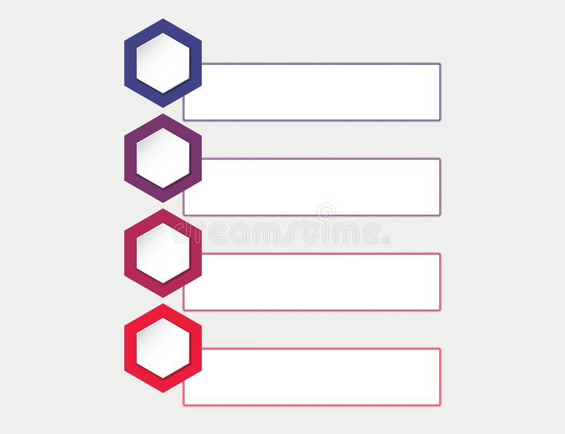 Infographic template process four steps flowchart with hexagons and text boxes vector illustration