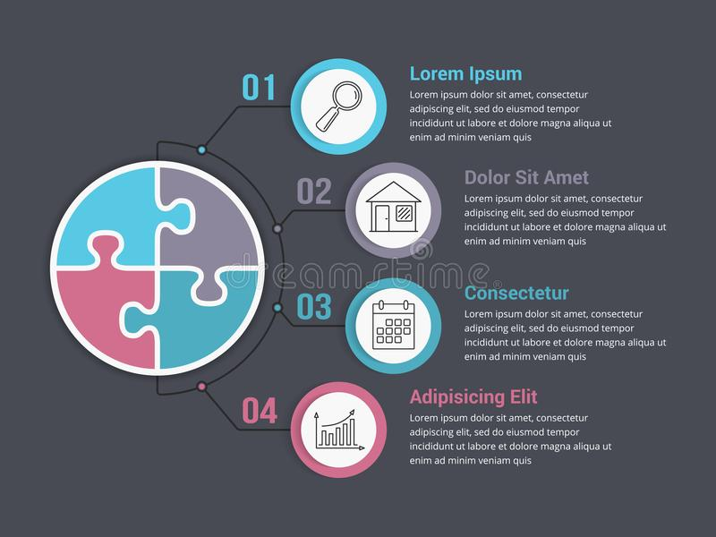 Infographic Template with Puzzle Circles. With four elements stock illustration