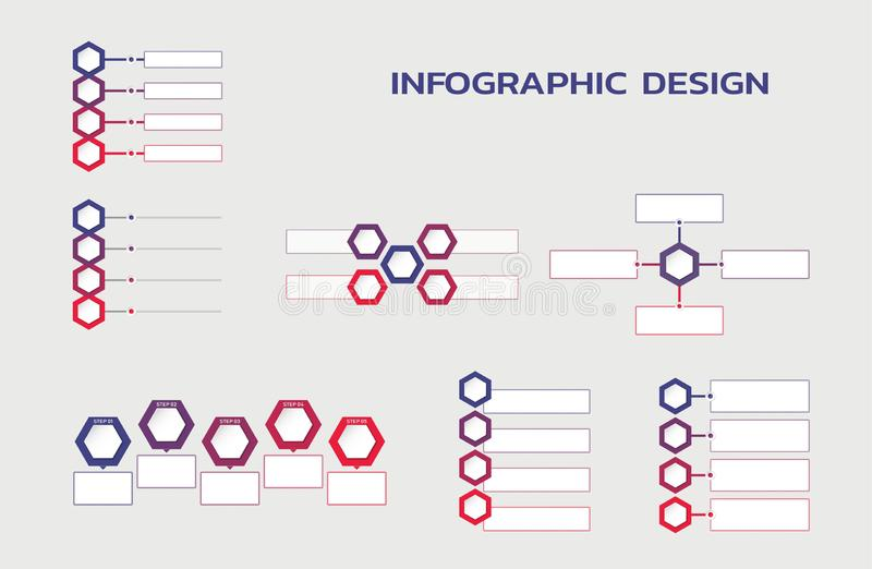 Infographic template set. flowcharts with hexagons and text boxes vector illustration