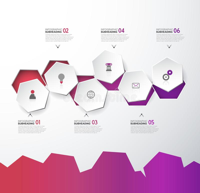 Infographic template with six hexagons and icons - light version stock illustration