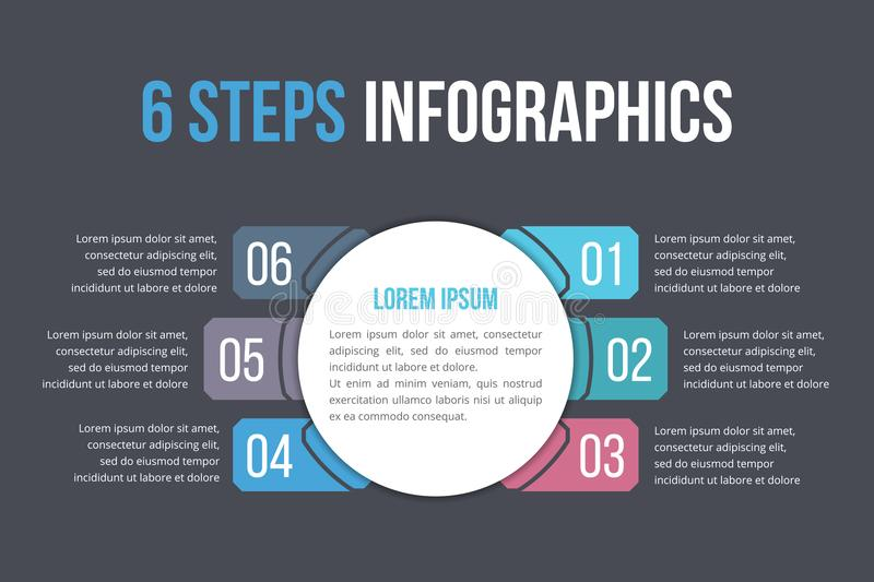 Infographic Template with Six Steps. Or options, workflow, process diagram royalty free illustration