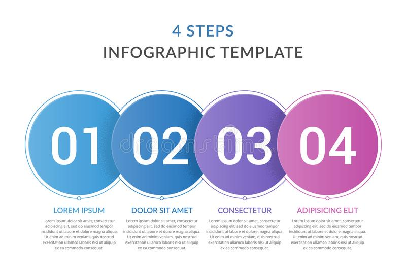 Infographic Template with 4 Steps. Infographic template with 4 circles with numbers, 4 steps infographics, workflow, process chart royalty free illustration