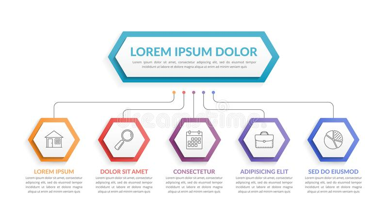 Infographic Template with 5 Steps stock illustration