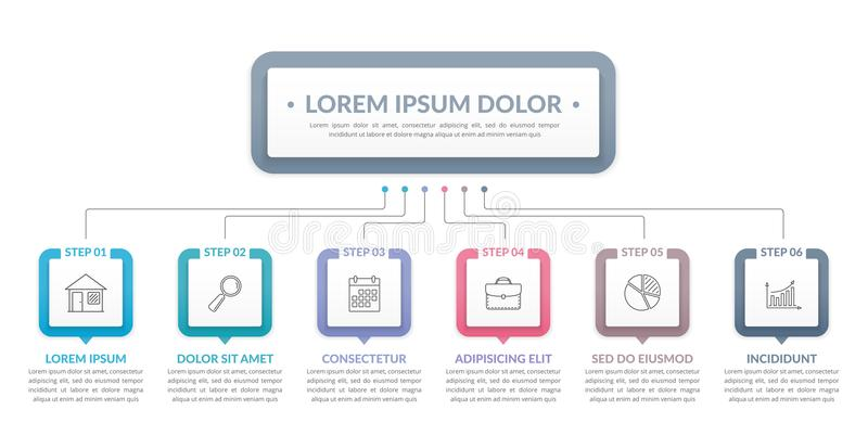 Infographic Template with 6 Steps vector illustration