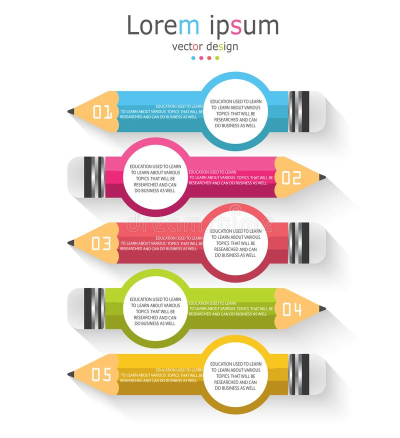 Infographic template with 5 steps Pencil with colored ribbons. Infographic template with 5 steps Pencil with colored ribbon diagram Used in education stock illustration