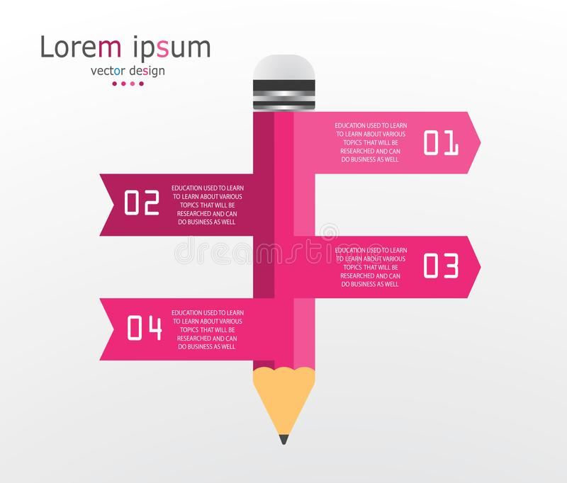 Infographic template with 4 steps Pencil with colored ribbons. Illustration vector illustration