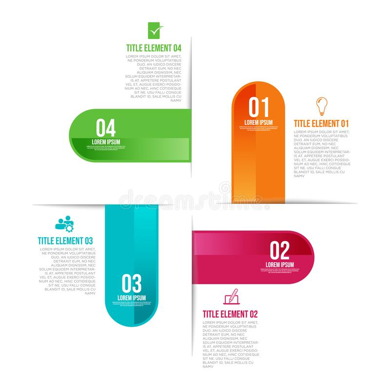 Infographic template with 4 steps workflow design illustration. Infographic template with 4 steps workflow design business marketing logo vector illustration royalty free illustration