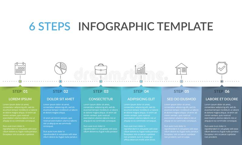 Infographic Template with 6 Steps. Workflow, process chart vector illustration